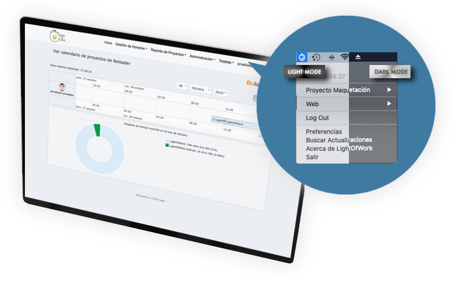 Light of Work | aplicación multiplataforma que gestiona el sistema completo de control de horarios de tu empresa, negocio o autónomos, y los proyectos en los que se invierten dichas horas