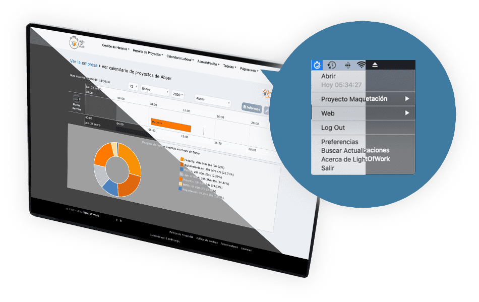 Light of Work | multi-platform application that manages the complete time control system of your company, business or self-employed, and the projects in which those hours are invested